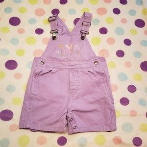 Lavender Embroidered Overalls